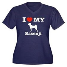 I love my Basenji Women's Plus Size V-Neck Dark T-