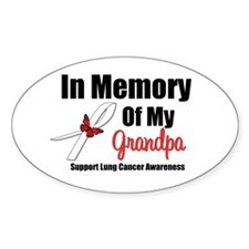 InMemoryGrandpa Lung Cancer Oval Sticker (10 pk)