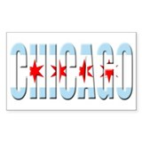 Chicago Flag Font Rectangle Sticker 50 pk)