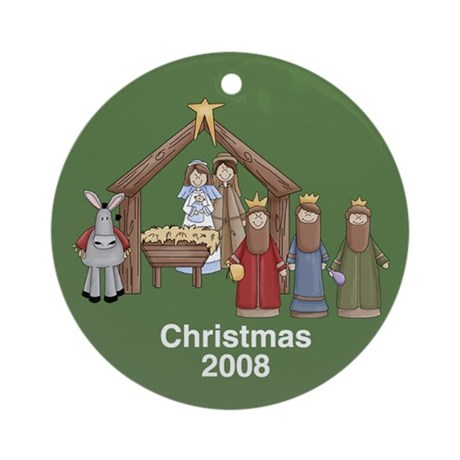 Nativity Scene Christmas Ornament (Round)