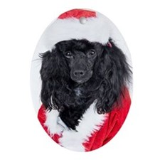 Poodle Oval Christmas Ornament