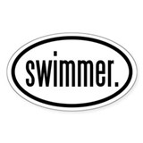 swimmer. Oval Decal