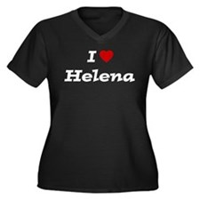 I HEART HELENA Women's Plus Size V-Neck Dark T-Shi