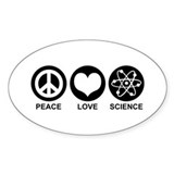 Peace Love Science Oval Decal