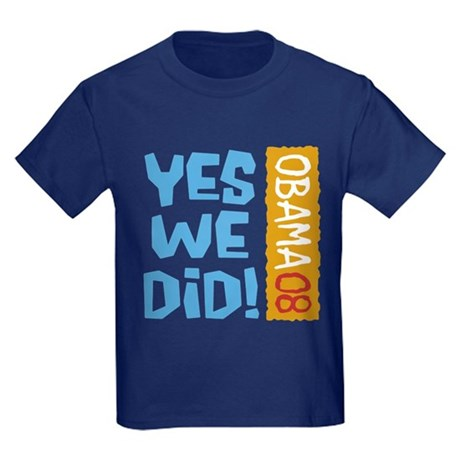 Yes We Did OBAMA 08 Kids Dark T-Shirt
