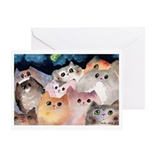Moon Viewing Cats Greeting Card