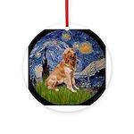 Starry Night Golden Retreiver Keepsake (Round)