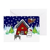 Cute Boston Terrier Christmas Greeting Cards (Pk o