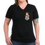 Snowman Chemist Women's V-Neck Dark T-Shirt