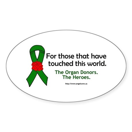 Organ Donor Heroes Oval Sticker