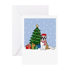 St Bernard Howling Holiday Greeting Card