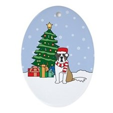 St Bernard Christmas Oval Ornament