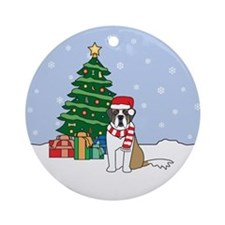 St Bernard Christmas Ornament (Round)