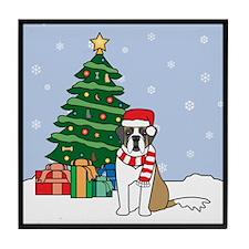 St Bernard Christmas Tile Coaster