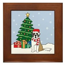 St Bernard Christmas Framed Tile