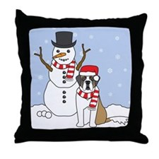 Saint Bernard Winter Throw Pillow
