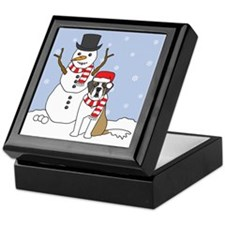 Saint Bernard Winter Keepsake Box