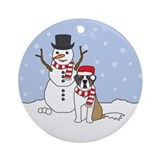 Saint Bernard Winter Ornament (Round)