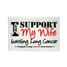 Support Lung Cancer Awareness Rectangle Magnet (10