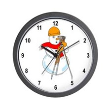 Snowman Surveyor Wall Clock