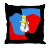 Snowman Surveyor Throw Pillow