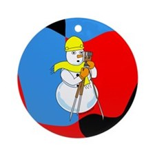 Snowman Surveyor Ornament (Round)