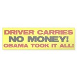 Driver Carries NO MONEY! Bumper Sticker (50 pk)