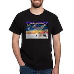 XmasSunrise/4 Pomeranians Dark T-Shirt