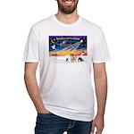 XmasSunrise/4 Pomeranians Fitted T-Shirt