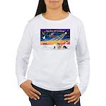 XmasSunrise/4 Pomeranians Women's Long Sleeve T-Sh