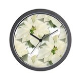 White Poinsettia Wall Clock