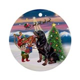 Christmas Tree & Rottweiler Keepsake (Round)
