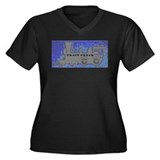 Train Freak Women's Plus Size V-Neck Dark T-Shirt