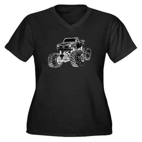 Monster Pickup Truck Women's Plus Size V-Neck Dark