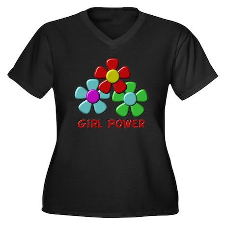 Girl Power Women's Plus Size V-Neck Dark T-Shirt