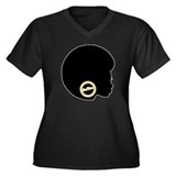 Black Afro Bling Women's Plus Size V-Neck Dark T-S