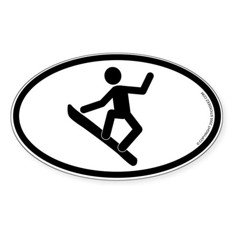 """Snowboarder"" - Oval Sticker"