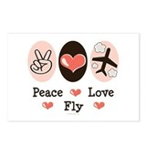Peace Love Fly Pilot Postcards (Package of 8)