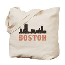 Vintage Boston Skyline Reusable Tote Bag