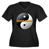 White Crane Yin Yang Women's Plus Size V-Neck Dark