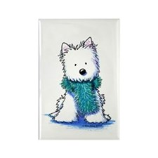 Fuzzy Scarf Westie Rectangle Magnet