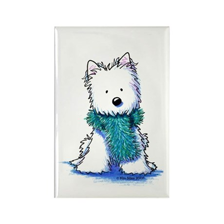 Fuzzy Scarf Westie Rectangle Magnet (10 pack)