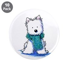 "Fuzzy Scarf Westie 3.5"" Button (10 pack)"