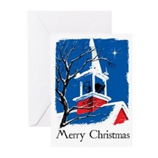 Vintage Church Steeple Christmas Cards (Pk of 10)