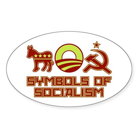 Symbols of Socialism Oval Sticker