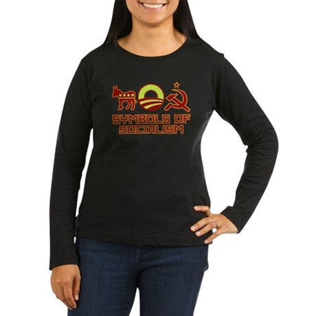 Symbols of Socialism Women's Long Sleeve Dark T-Sh