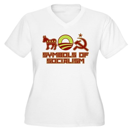 Symbols of Socialism Women's Plus Size V-Neck T-Sh