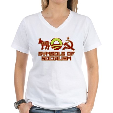 Symbols of Socialism Women's V-Neck T-Shirt