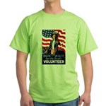 Don't Wait to Volunteer (Front) Green T-Shirt