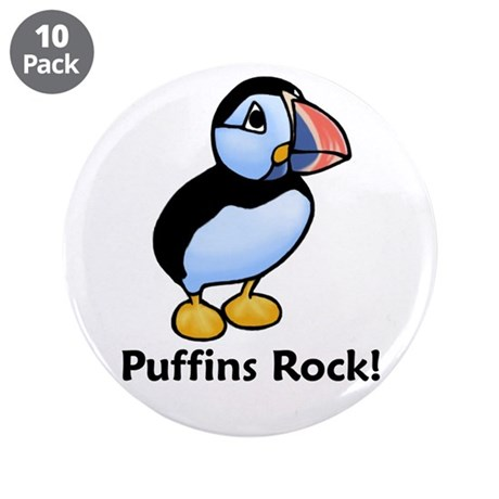"Puffins Rock! 3.5"" Button (10 pack)"